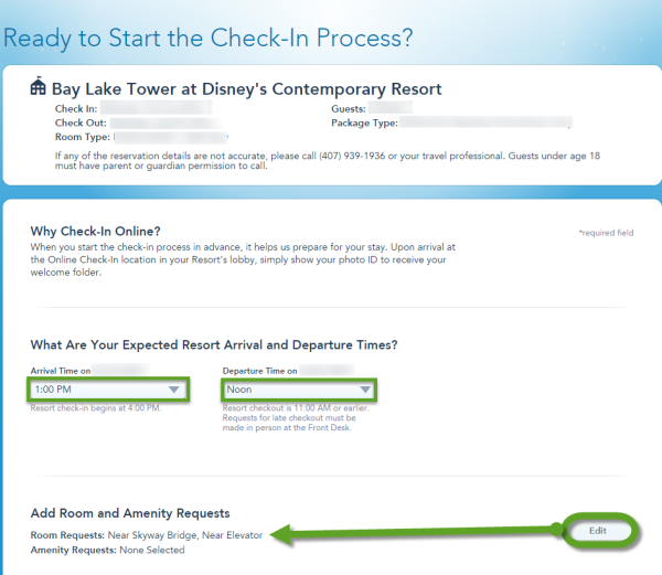 How to check into your Disney Resort Online - Step 1