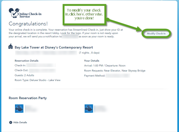 How to check Into A Disney Resort online - Step 4